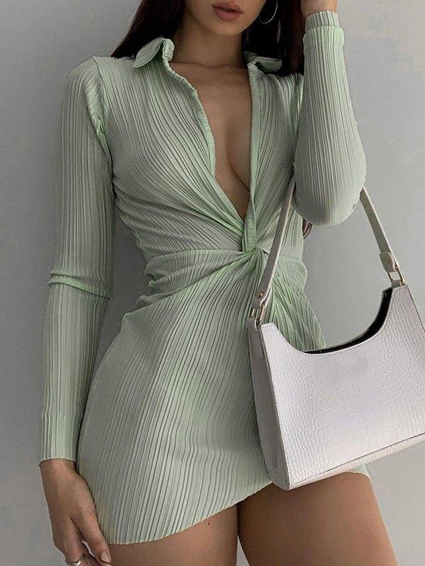 Twist Long Sleeve Pleated Mini Dress - Green S