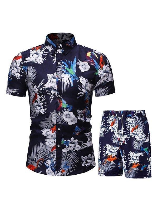 Men's Floral Print Short Sleeve Set - Navy Blue 3XL