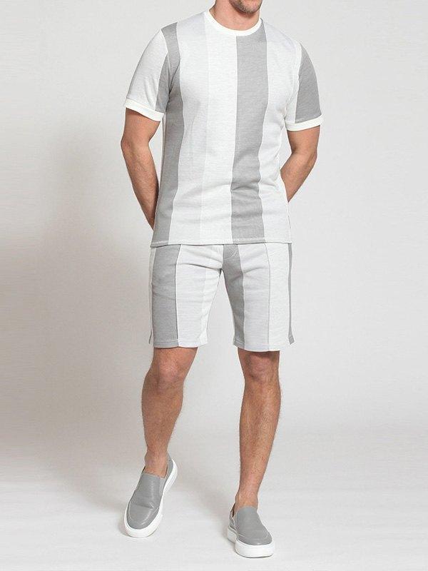 Men's Stripe Print Shorts Set - Gray L