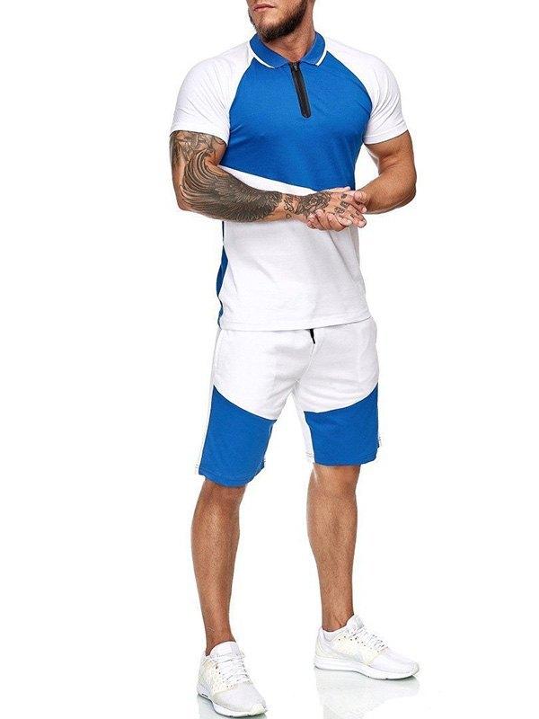 Men's Polo Neck Patchwork Set - Blue 3XL