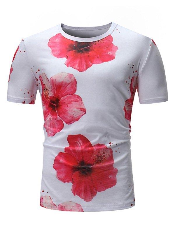 Men's Floral Print Short Sleeve Tee - White M