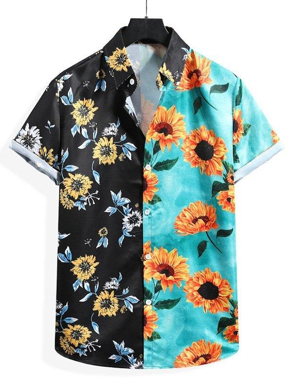 Men's Two Tone Sunflower Print Shirt - multicolorple Colors L