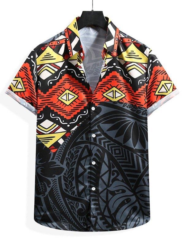 Men's Ethnic Patterned Shirt - Black XL