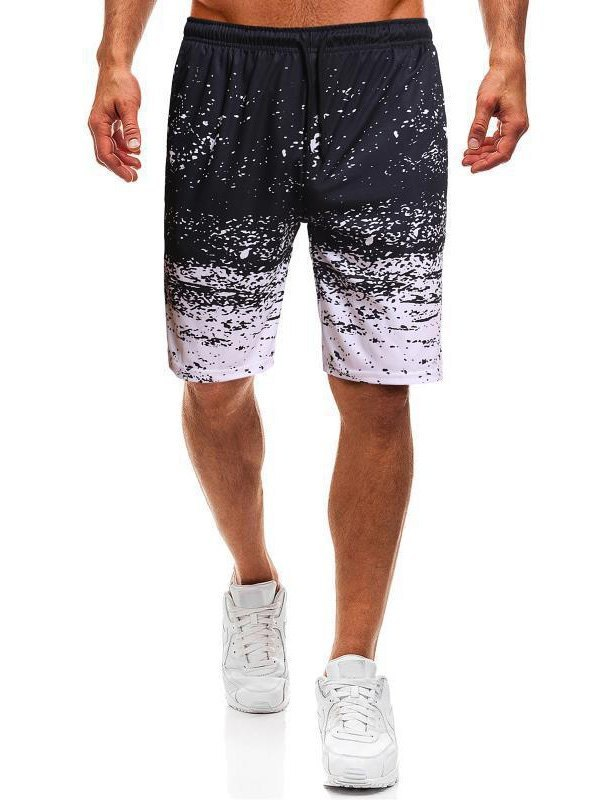 Men's Splash Print Jersey Shorts - White 3XL