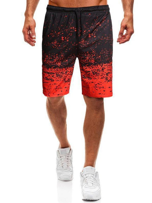 Men's Splash Print Jersey Shorts - Red XL