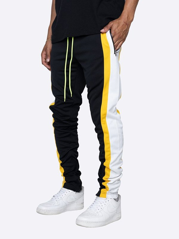 Men's Contrast Striped Running Pants - Yellow L