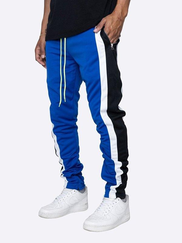Men's Contrast Striped Running Pants - Blue M