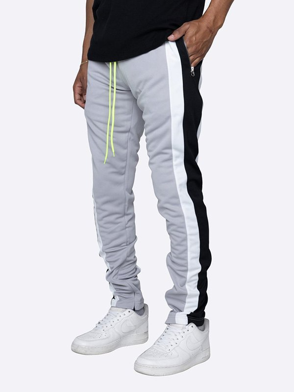 Men's Contrast Striped Running Pants - Gray XL
