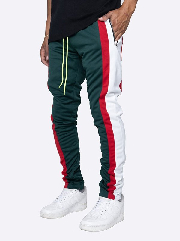 Men's Contrast Striped Running Pants - Green XL