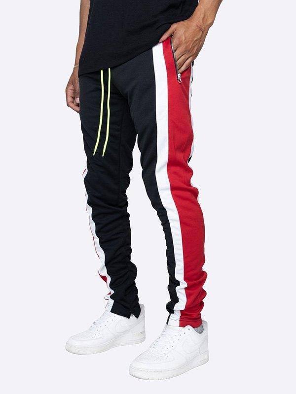 Men's Contrast Striped Running Pants - Black M