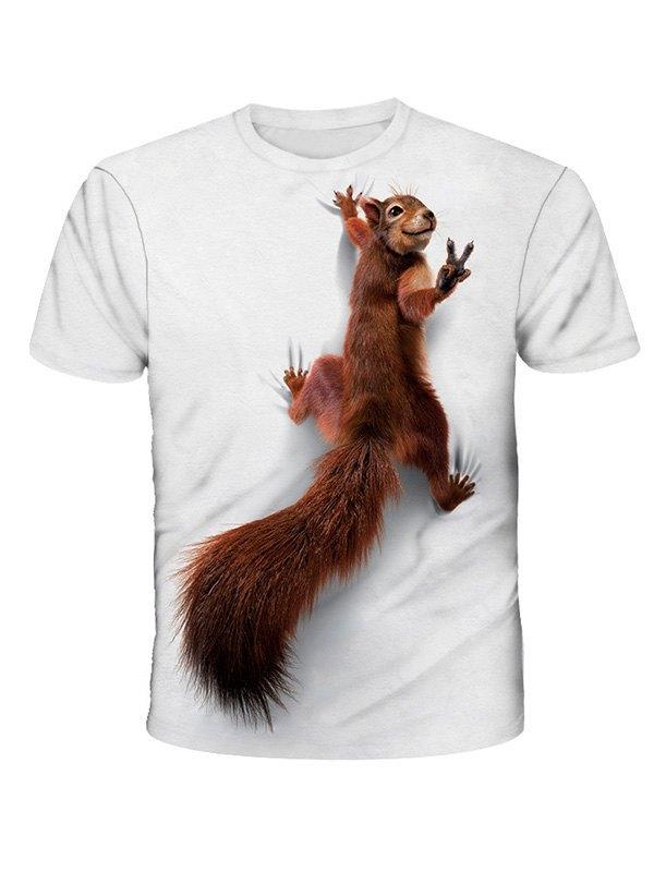 Men's 3D Squirrel Print Tee - White M