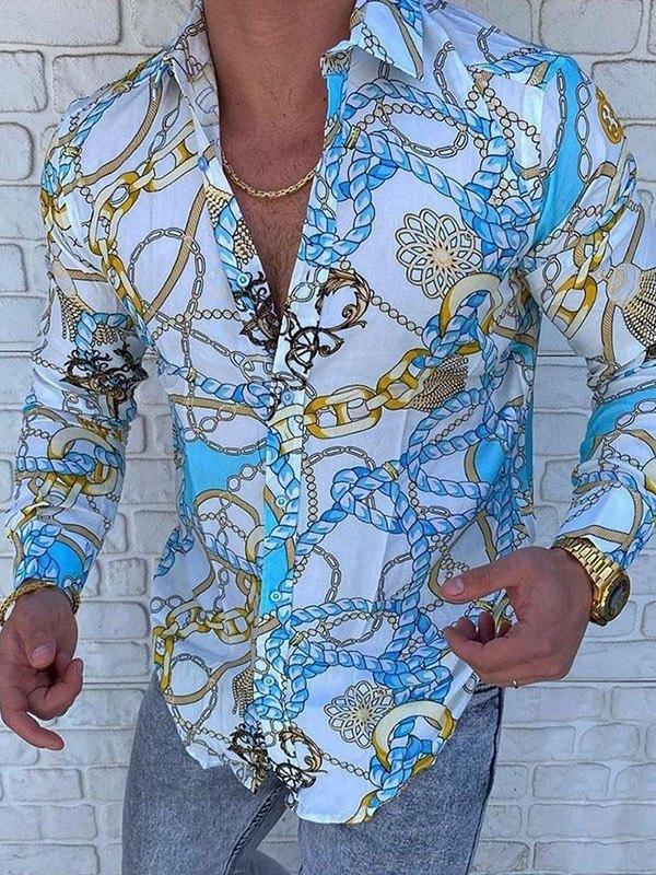 Chemise homme baroque à imprimé chaîne -