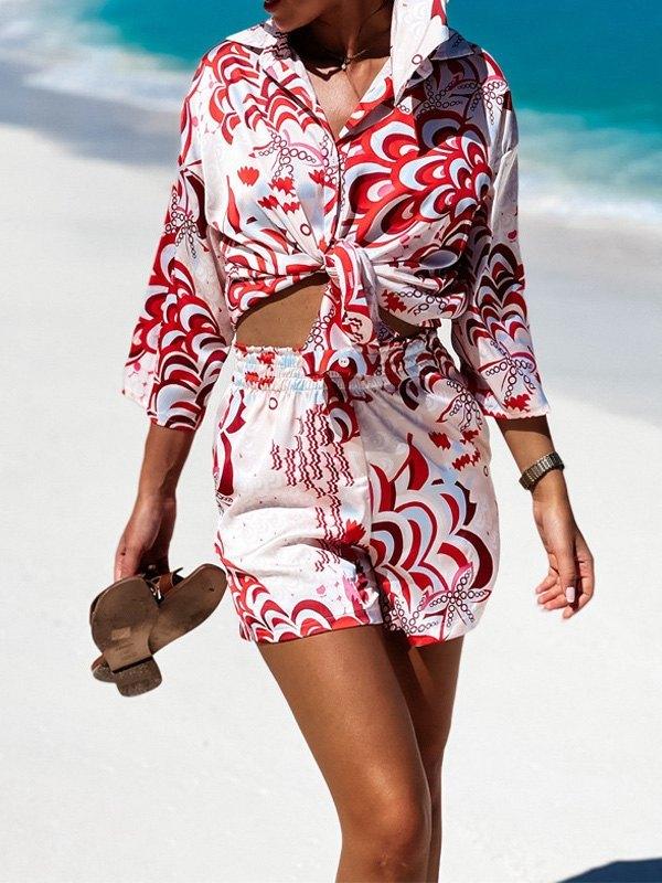 Boho Printed Shorts Set - Red M