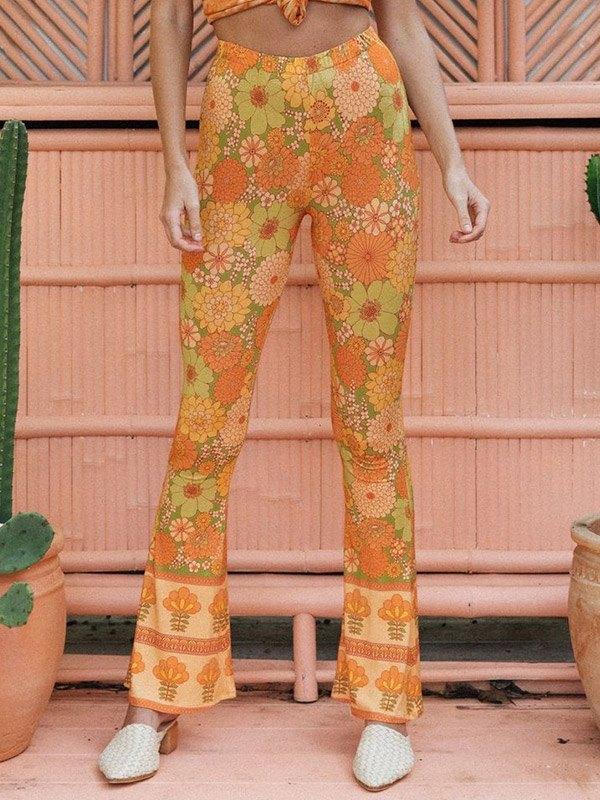 Floral Print Flare Leg Pants - Orange M