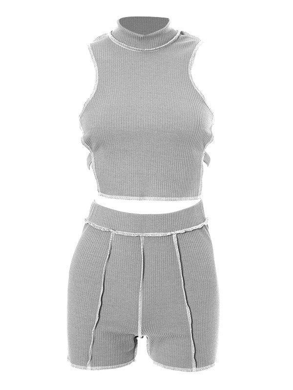 Stitched Detail Knit Shorts Set -