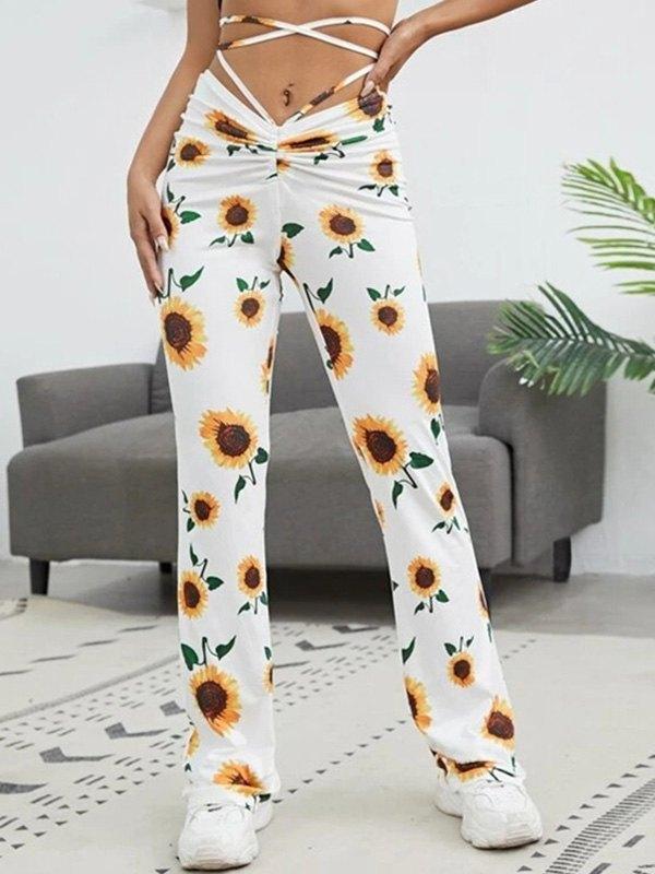 Sunflower Print Flare Leg Pants -