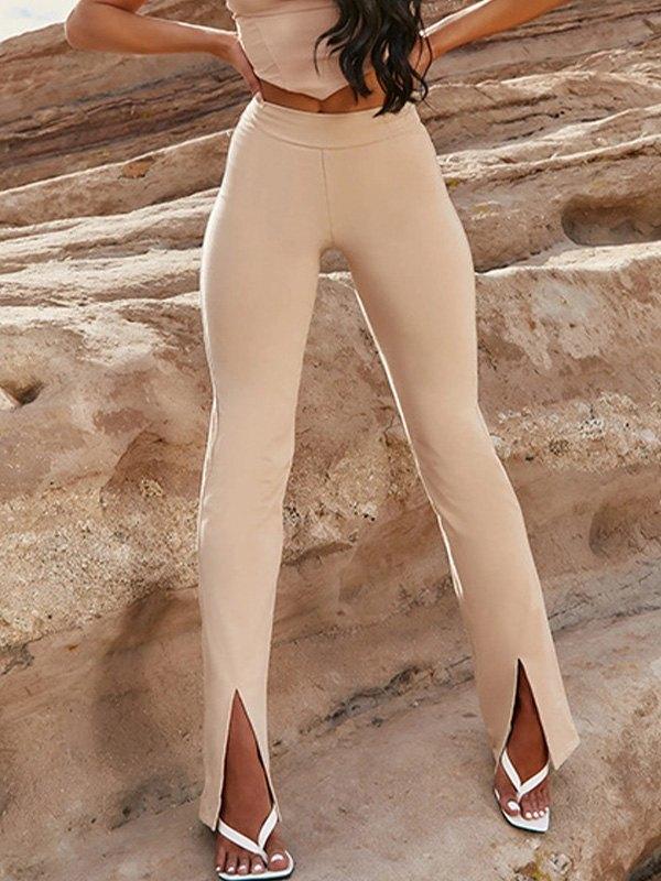 High Waisted Slit Flare Leg Pants -