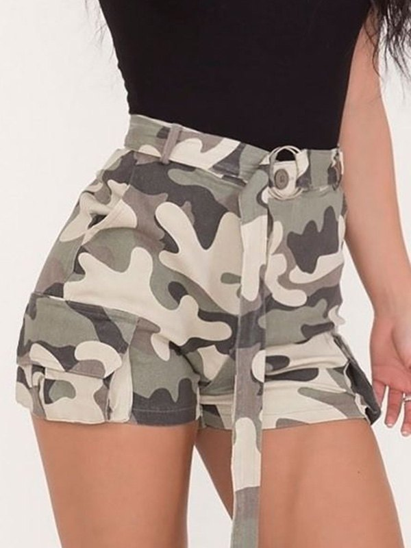 Belted Camo Cargo Shorts -