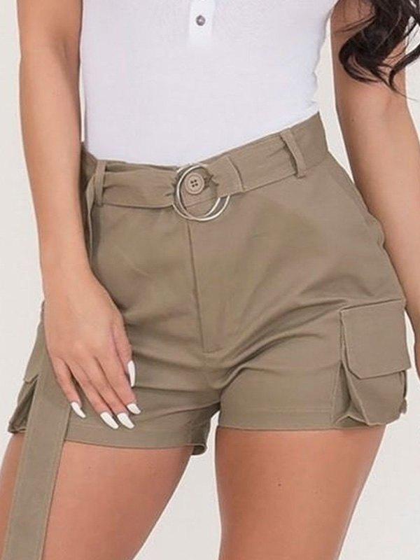 Belted High Waist Cargo Shorts -