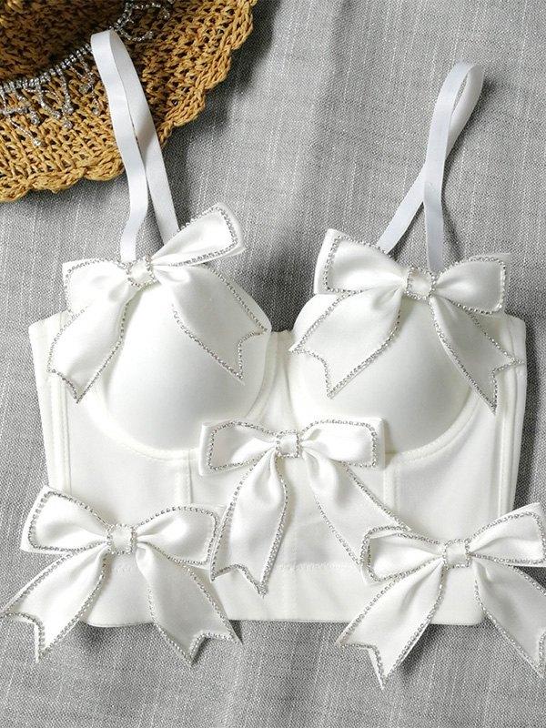 Top corsetto con dettaglio fiocco in strass - Bianca S
