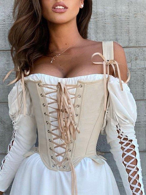 Top corsetto curvo con lacci - Albicocca S
