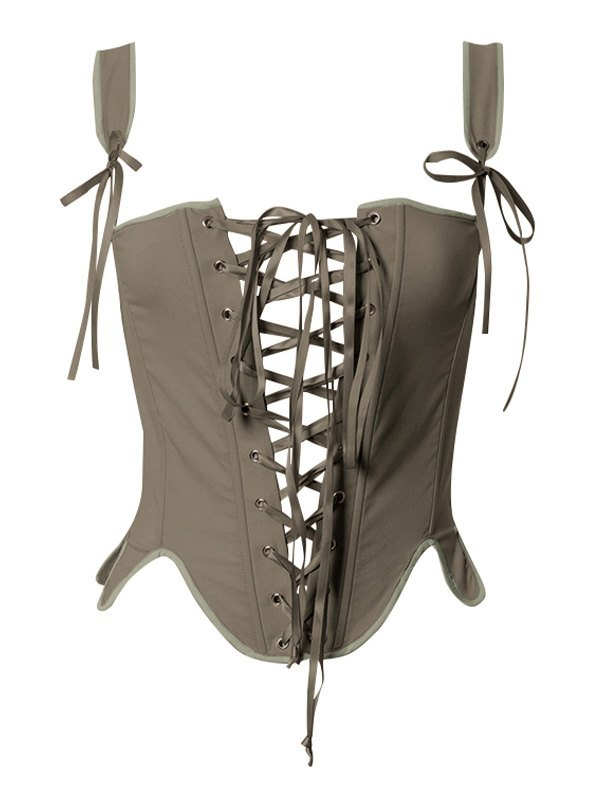 Curved Lace Up Corset Top - Chive S