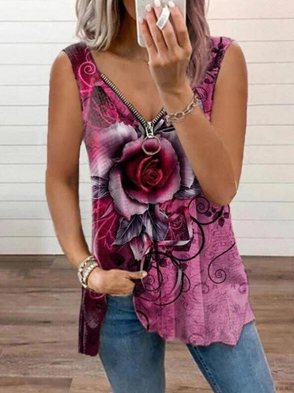 Zipper Rose Print Longline Tank Top -