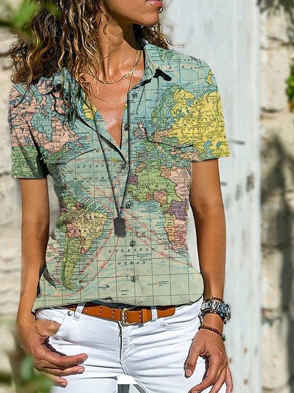 World Map Print Short Sleeve Blouse -