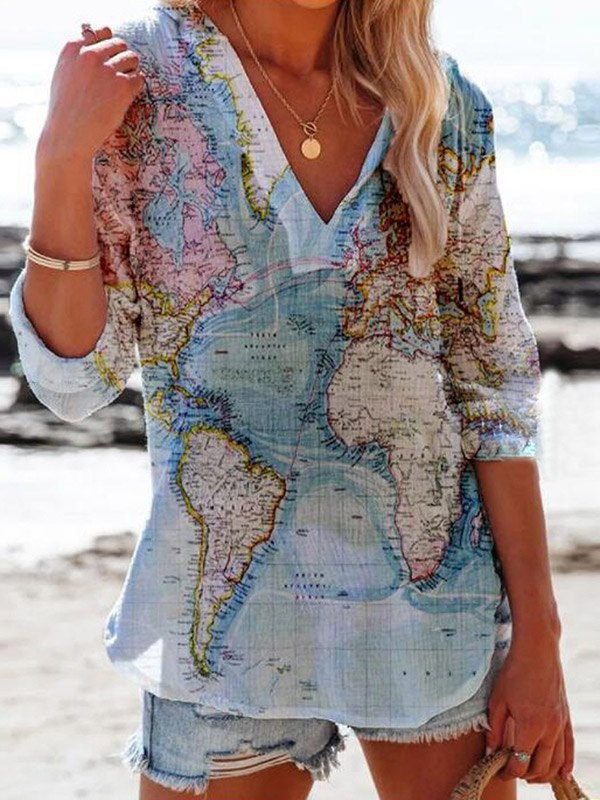V Neck World Map Print Blouse -