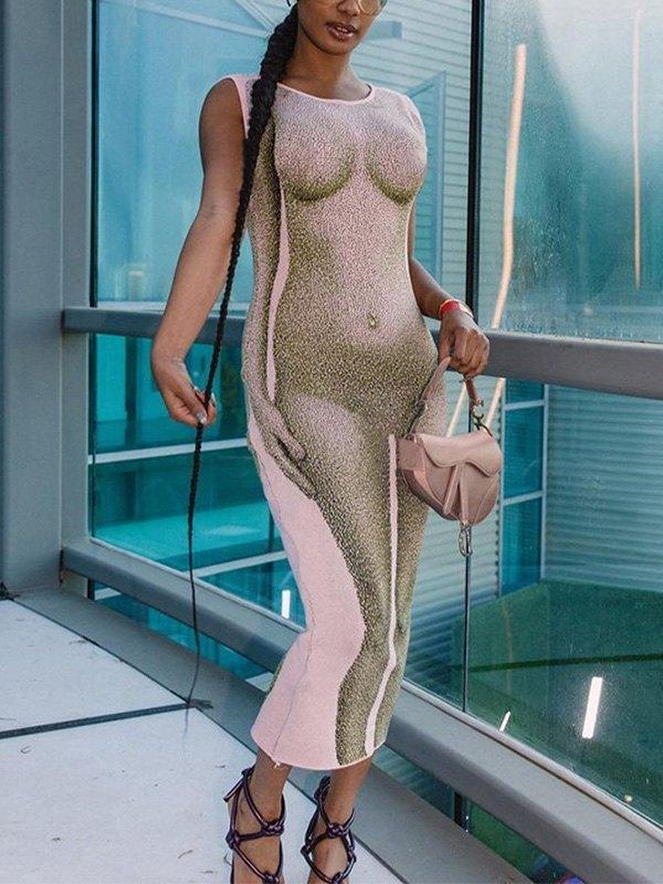 Body Print Maxi Dress -
