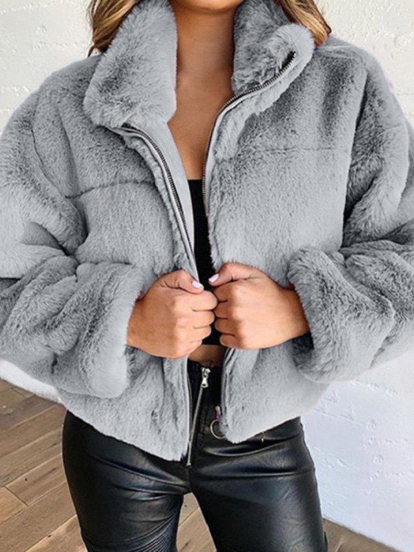 Faux Fur Zipper Jacket - Gray S