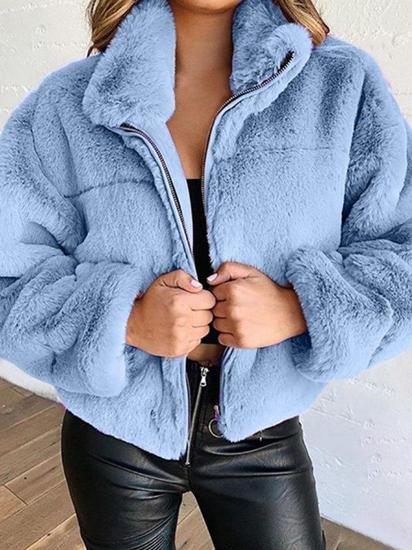Faux Fur Zipper Jacket - Blue L