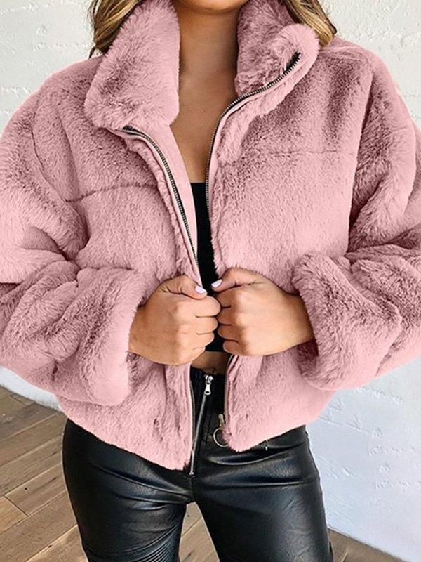 Faux Fur Zipper Jacket - Pink L