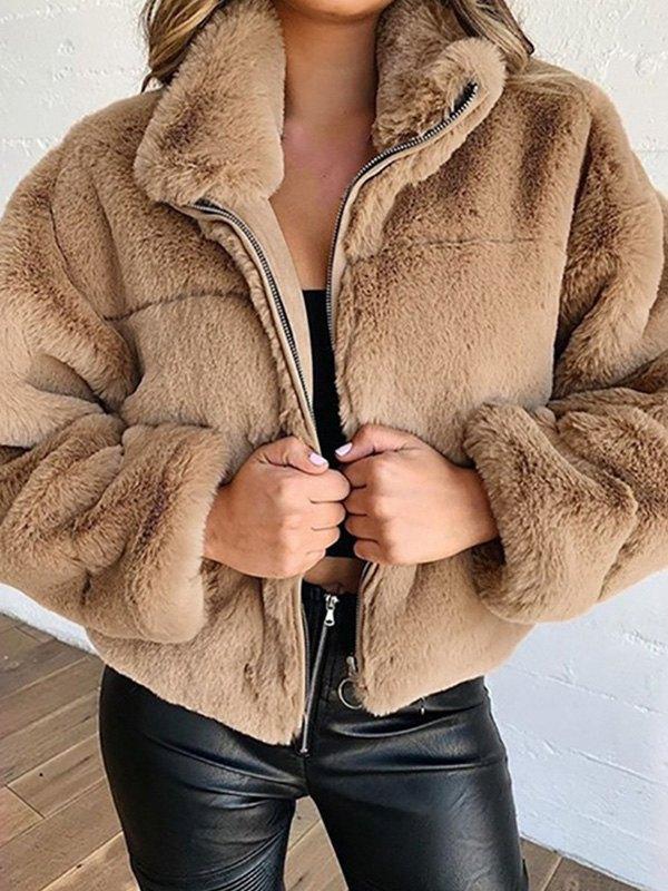 Faux Fur Zipper Jacket - Camel M