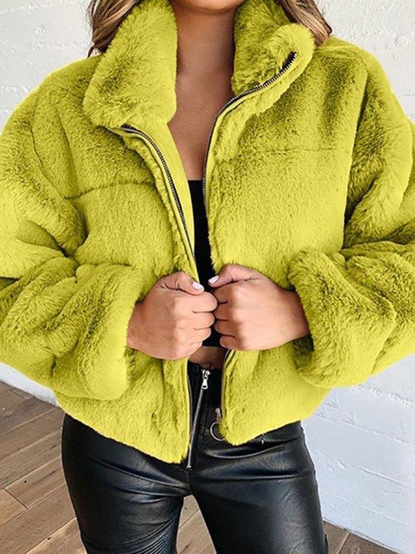Faux Fur Zipper Jacket - Green M