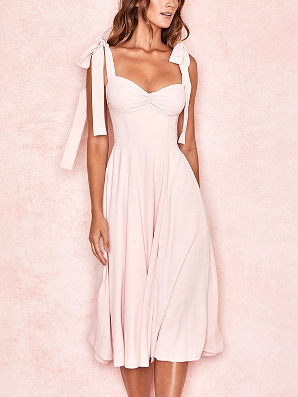 Tie Strap Slit Maxi Dress -
