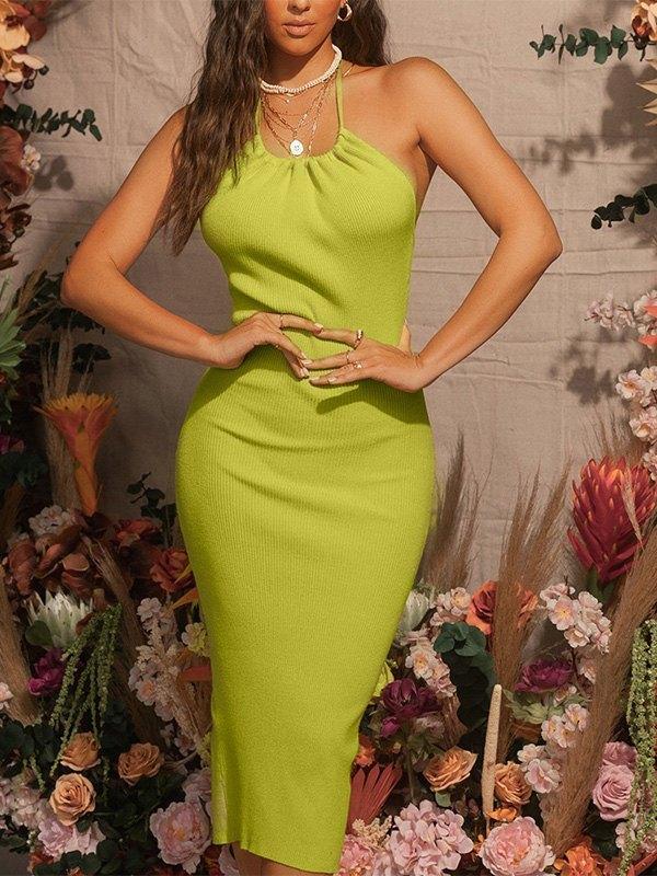 Halter Neck Slit Maxi Dress -