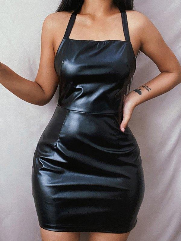 Faux Leather Halter Mini Dress -