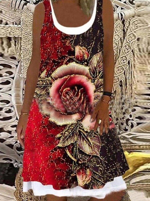 Patchwork Printed Midi Dress -