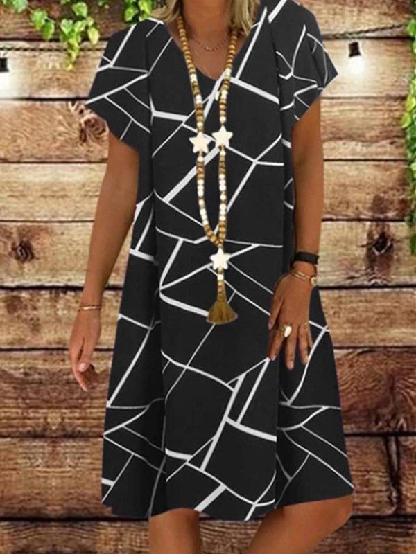 Printed Short Sleeve Midi Dress -