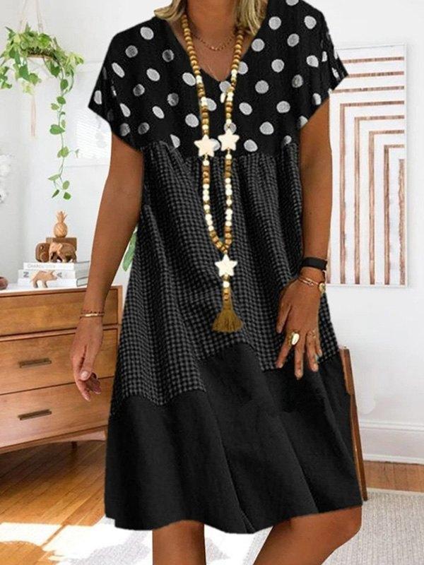 Patchwork Checkered Print Midi Dress -