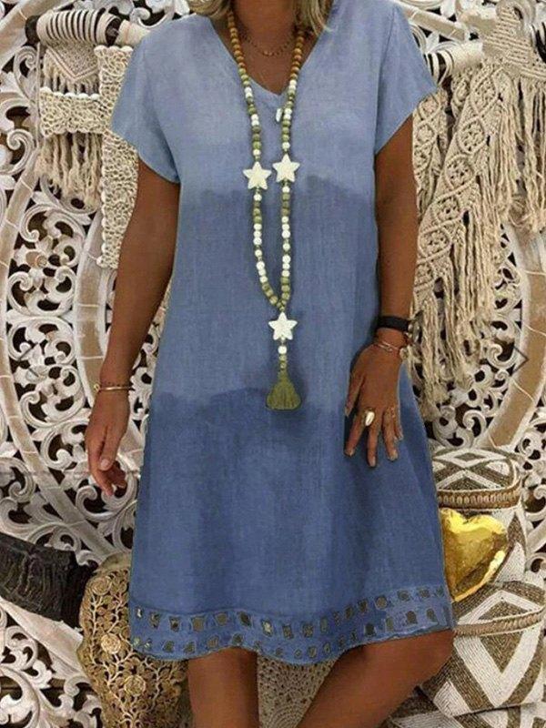 V Neck Short Sleeve Midi Dress -