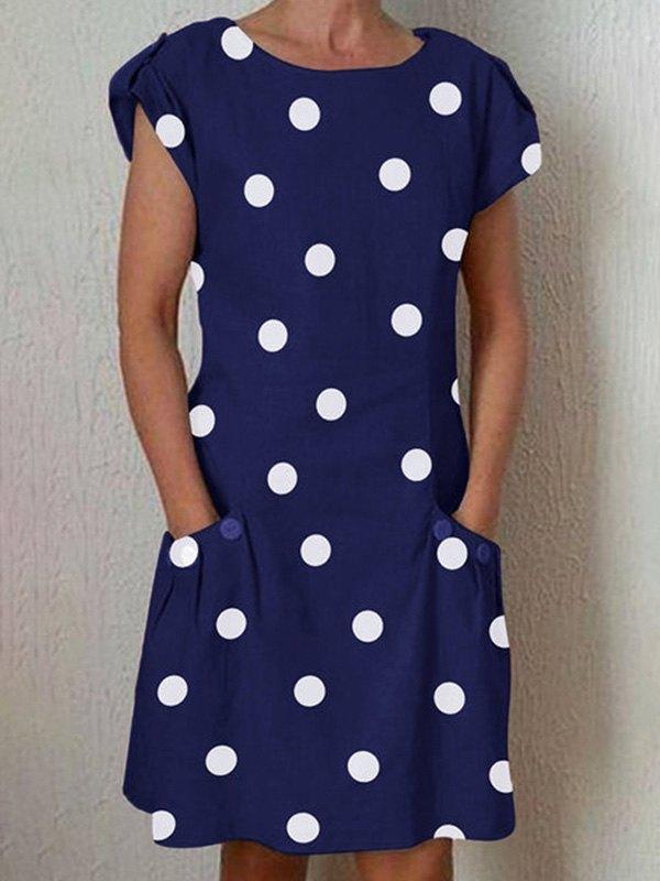 Pocket Dot Print Midi Dress -