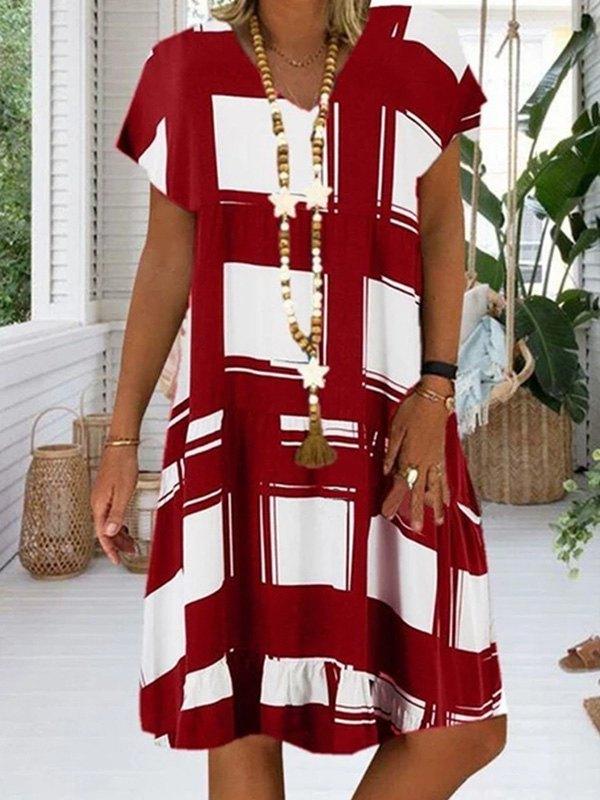 V Neck Printed Midi Dress -