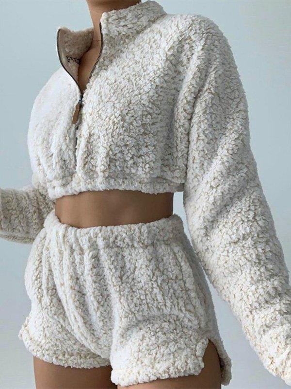 Zipper Long Sleeve Fleece Lounge Set -