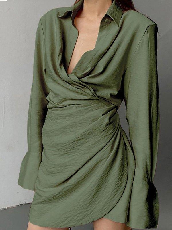 Long Sleeve Wrap Mini Dress -