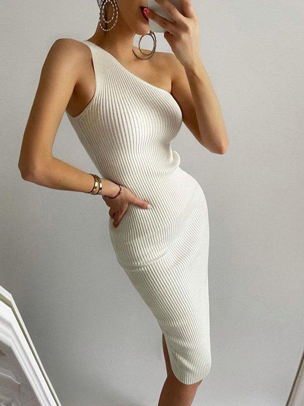 One Shoulder Rib Knit Maxi Dress -