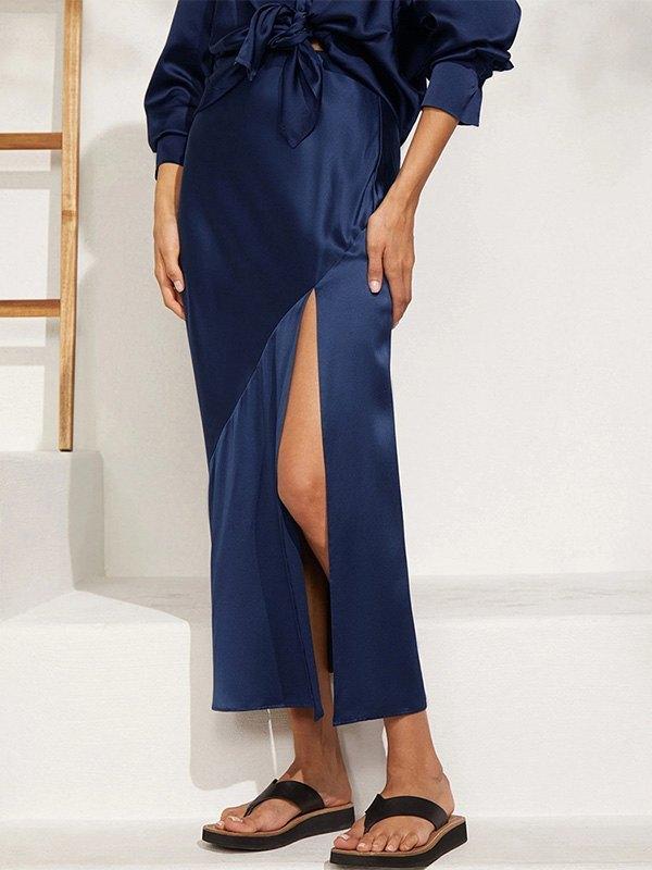 Satin Split Maxi Skirt -