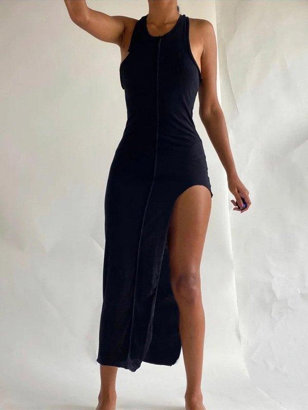 Irregular Seam Detail Maxi Dress -