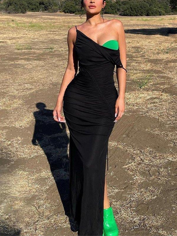 Split Ruched Slip Maxi Dress -